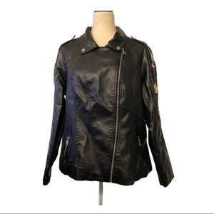 Faux Black Leather Jacket by New Look Size 1X